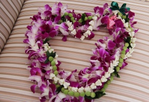 Joyful leis my son received recently.