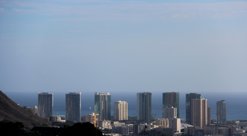 Honolulu skyline from a different view. One where it almost reaches the horizon.