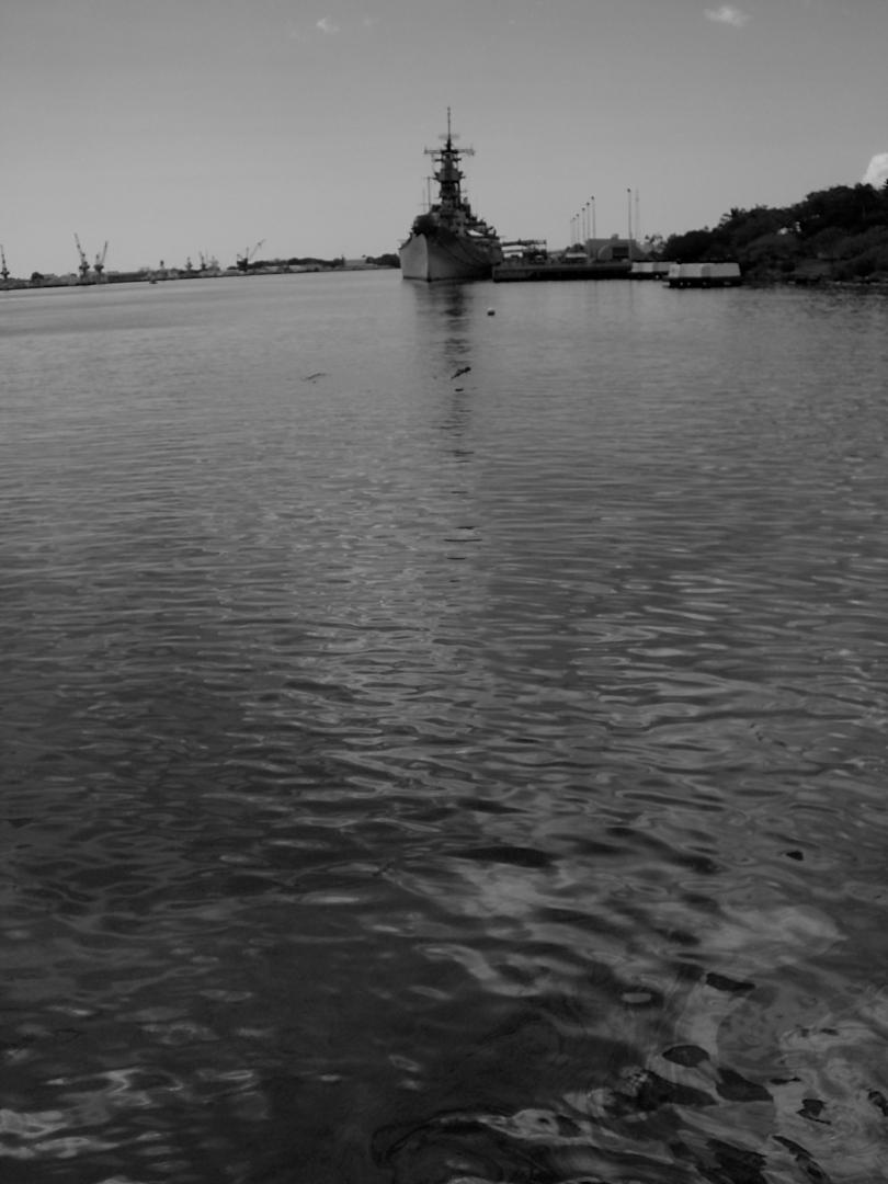 Looking towards USS Missouri from USS Arizona Memorial.